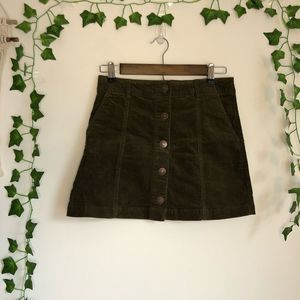 Forever 21 Contemporary Corduroy Green Skirt